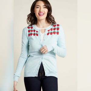 Modcloth Berry Well Then Intarsia Sweater Cardigan